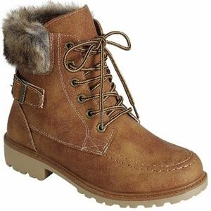 New Tan Fur Lace Up Hiking Boots Ankle Booties